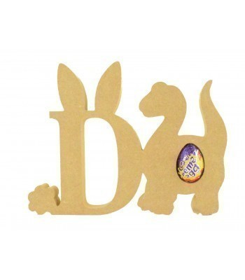 18mm Freestanding wooden Easter Rabbit Letters with Creme Egg Holder Dinosaur - BT NEWS - 200mm Height