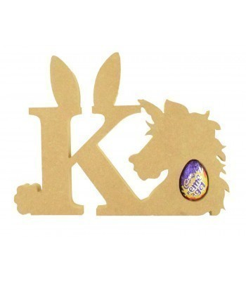 18mm Freestanding wooden Easter Rabbit Letters with Creme Egg Holder Unicorn - BT NEWS - 200mm Height