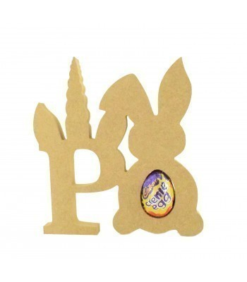 18mm Freestanding wooden Unicorn Letters with Creme Egg Holder Easter Rabbit - BT NEWS - 200mm Height