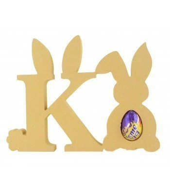 18mm Freestanding wooden Easter Rabbit Letters with Creme Egg Holder Rabbit - BT NEWS - 200mm Height