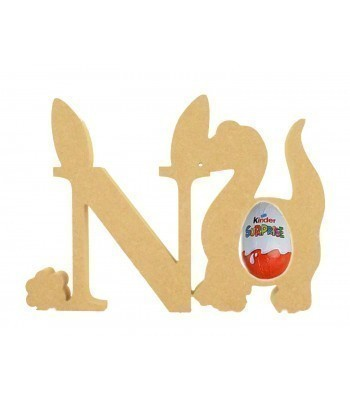 18mm Freestanding wooden Easter Rabbit Letters with Kinder Egg Holder Dinosaur - BT NEWS - 200mm Height
