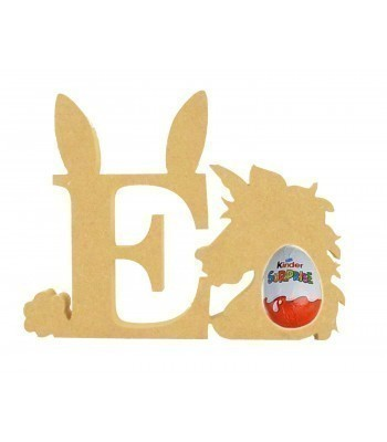 18mm Freestanding wooden Easter Rabbit Letters with Kinder Egg Holder Unicorn - BT NEWS - 200mm Height