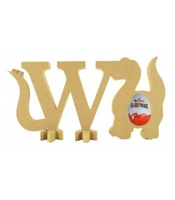 18mm Freestanding wooden Dinosaur Letters with Kinder Egg Holder Dinosaur - BT NEWS - 200mm Height
