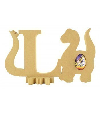 18mm Freestanding wooden Dinosaur Letters with Creme Egg Holder Dinosaur - BT NEWS - 200mm Height