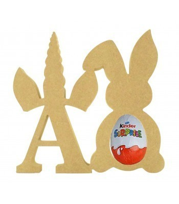 18mm Freestanding wooden Unicorn Letters with Kinder Egg Holder Easter Rabbit - BT NEWS - 200mm Height