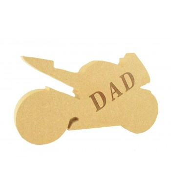 Laser Engraved 18mm Freestanding MDF 'DAD' Motorbike Shape - Options Available