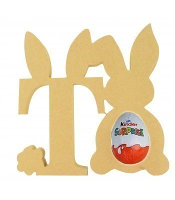 18mm Freestanding wooden Easter Rabbit Letters with Kinder Egg Holder Rabbit - BT NEWS - 200mm Height