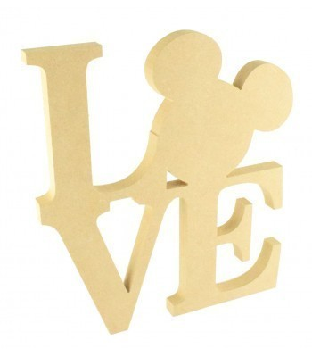 18mm Freestanding MDF Large 'LOVE' word with a Mouse Head Shape