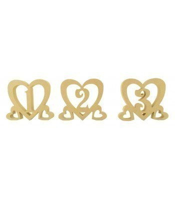 18mm Freestanding MDF Wedding Table Numbers inside Hearts