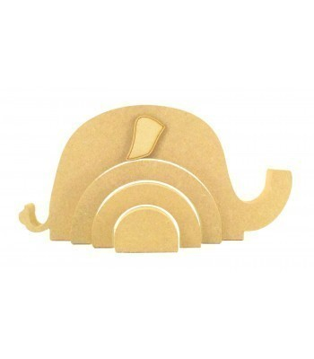 18mm Freestanding MDF Stacking Rainbow Shape - Elephant with 3D Ear