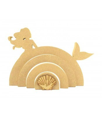 18mm Freestanding MDF Stacking Rainbow Shape - Mermaid with 3D Shell