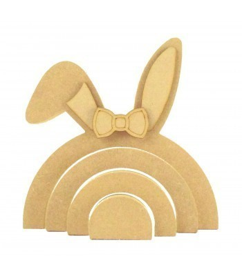 18mm Freestanding MDF Stacking Rainbow Shape - Bunny with 3D Accessories