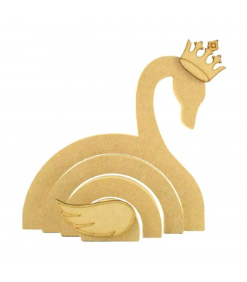 18mm Freestanding MDF Stacking Rainbow Shape - Swan with 3D Accessories