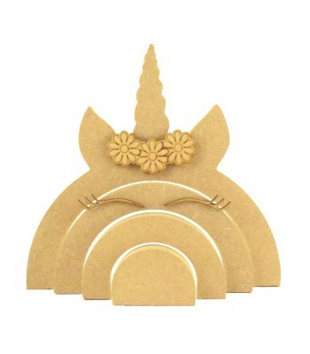 18mm Freestanding MDF Stacking Rainbow Shape - Unicorn with 3D Accessories