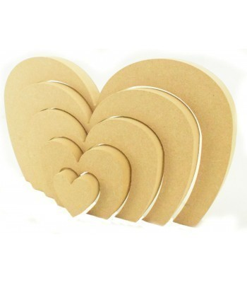 18mm Freestanding MDF Heart Stacking Rainbow Shape - Small Heart Center