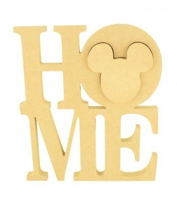 18mm Freestanding MDF Large 'HOME' word with a 3D Linking Mouse Head Shape