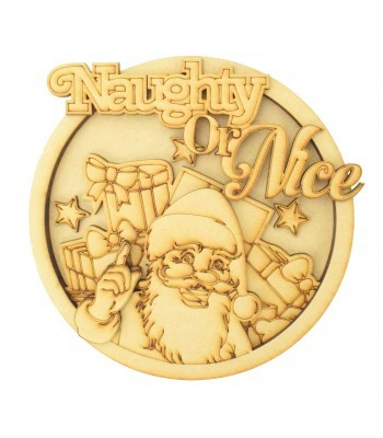 Laser Cut 'Naughty or Nice' 3D Detailed Layered Christmas Circle Plaque - Santa Themed