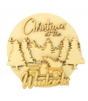 Laser Cut Personalised 'Christmas at the...' 3D Detailed Layered Christmas Circle Plaque - Truck & Forest Themed