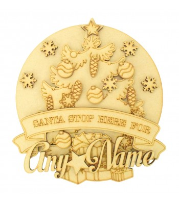 Laser Cut Personalised 'Santa Stop Here For...' 3D Detailed Layered Christmas Circle Plaque - Christmas Tree Themed