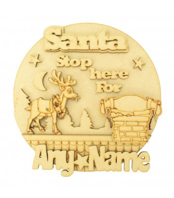 Laser Cut Personalised 'Santa Stop Here For...' 3D Detailed Layered Christmas Circle Plaque - Reindeer & Santa Roof Top Scene