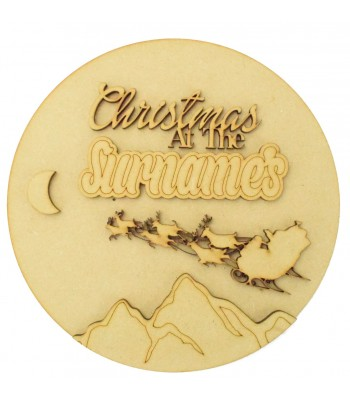 Laser Cut Personalised 'Christmas at the...' 3D Basic Christmas Circle Plaque - Flying Sleigh & Mountains Scene