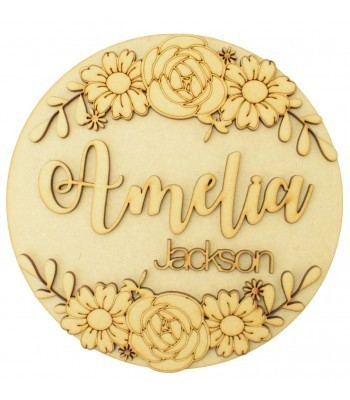 Laser Cut Personalised 3D Detailed Circle Plaque with Flowers - First Name & Surname