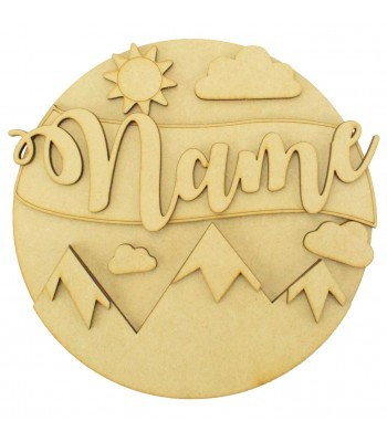 Laser Cut Personalised 3D Detailed Layered Circle Plaque - Mountains Themed