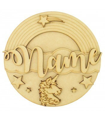 Laser Cut Personalised 3D Detailed Layered Circle Plaque - Unicorn Themed
