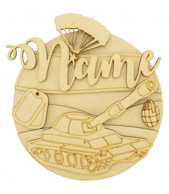 Laser Cut Personalised 3D Detailed Layered Circle Plaque - Army Themed