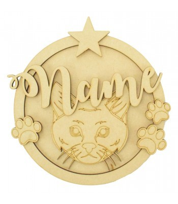 Laser Cut Personalised 3D Detailed Layered Circle Plaque - Cat Themed