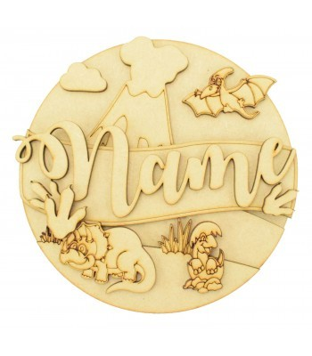 Laser Cut Personalised 3D Detailed Layered Circle Plaque - Dinosaur Themed