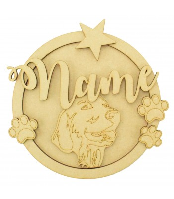 Laser Cut Personalised 3D Detailed Layered Circle Plaque - Dog Themed (Design 2)