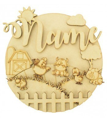 Laser Cut Personalised 3D Detailed Layered Circle Plaque - Farm Themed