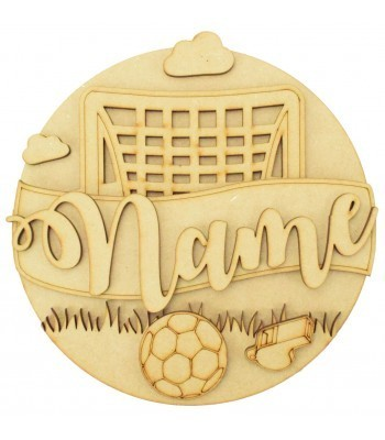 Laser Cut Personalised 3D Detailed Layered Circle Plaque - Football Themed