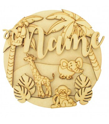 Laser Cut Personalised 3D Detailed Layered Circle Plaque - Safari Themed