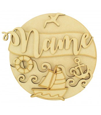 Laser Cut Personalised 3D Detailed Layered Circle Plaque - Nautical Themed