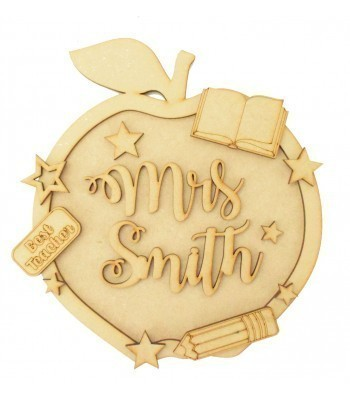 Laser Cut Personalised 3D Detailed Layered Apple Plaque - Teacher Themed
