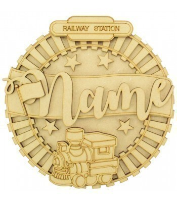 Laser Cut Personalised 3D Detailed Layered Circle Plaque - Train Themed