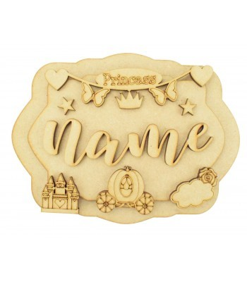 Laser Cut Personalised 3D Layered Rectangle Plaque - Princess Themed
