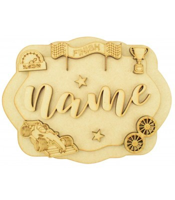 Laser Cut Personalised 3D Layered Rectangle Plaque - Racing Car Themed