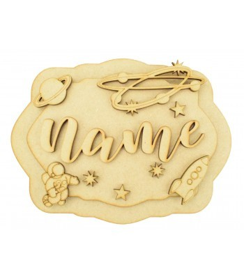 Laser Cut Personalised 3D Layered Rectangle Plaque - Space Themed