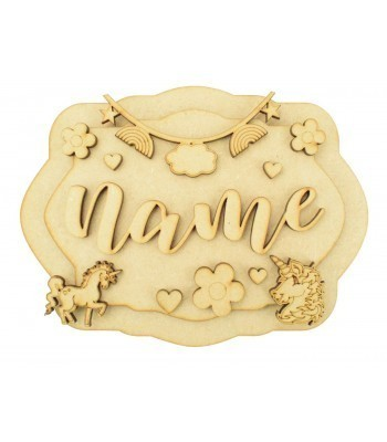 Laser Cut Personalised 3D Layered Rectangle Plaque - Unicorn Themed