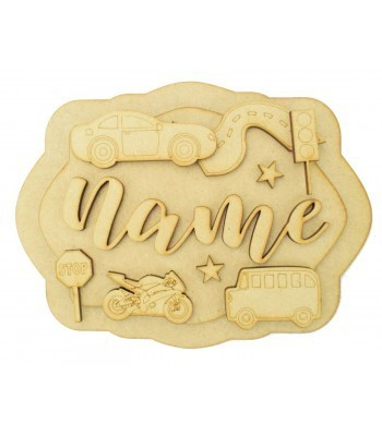 Laser Cut Personalised 3D Layered Rectangle Plaque - Vehicles Themed