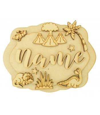 Laser Cut Personalised 3D Layered Rectangle Plaque - Dinosaur Themed