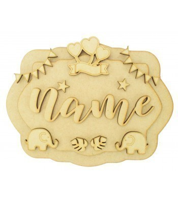 Laser Cut Personalised 3D Layered Rectangle Plaque - Elephant Themed