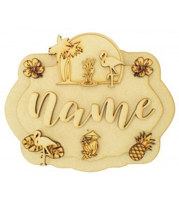 Laser Cut Personalised 3D Layered Rectangle Plaque - Flamingo Themed