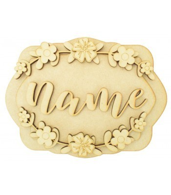 Laser Cut Personalised 3D Layered Rectangle Plaque - Flower Themed