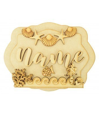 Laser Cut Personalised 3D Layered Rectangle Plaque - Mermaid Themed