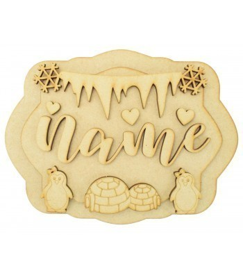 Laser Cut Personalised 3D Layered Rectangle Plaque - Girl Penguin Themed