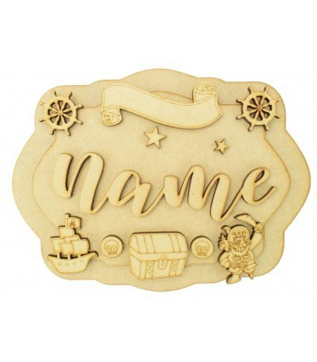 Laser Cut Personalised 3D Layered Rectangle Plaque - Pirate Themed